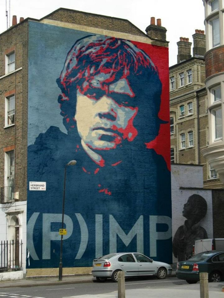 Game of Thrones Tyrion -- Shepherd Fairey street art style. Oh man. Swoooon.    ('shopped, but who cares ::grin::