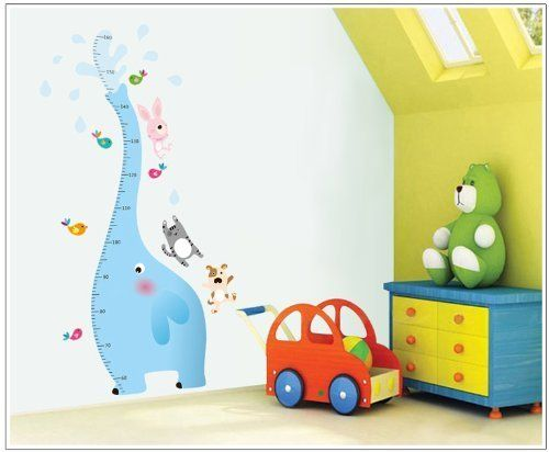 Dnven 30w X 51h Blue Elephant Measurement Height Chart with Cat Dog and Rabbit Birds Nursery Room Wall Decals Stickers