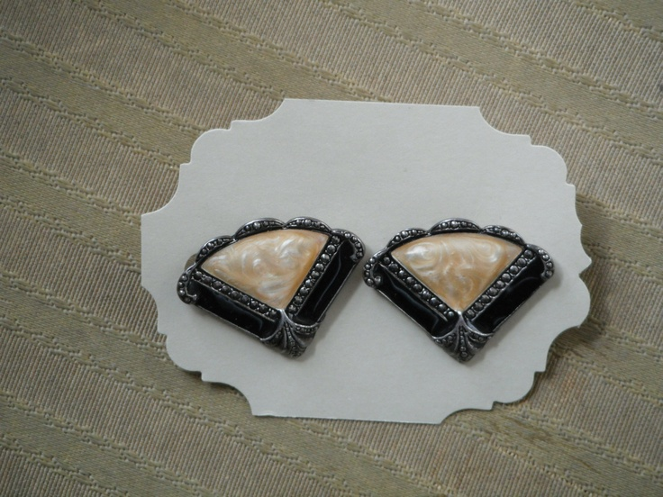 Vintage Avon Art Deco Style Faux Marcisite and Enamel Silver Tone Metal Earrings for Pierced Ears. $15.99, via Etsy.