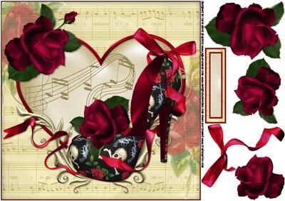8x8 Love shoes guns and roses on Craftsuprint designed by Carol Smith - an 8x8 topper sheet for the ladies has a fabulous shoe in a guns and roses theme decorated with a beautiful red rose and bow with trailing ribbon backed by an ornate heart frame with music notes, suitable for all but great for rock fans, matching blank tag for the greeting and placement of your choicethank you for looking please take a peek at my other items - Now available for download!