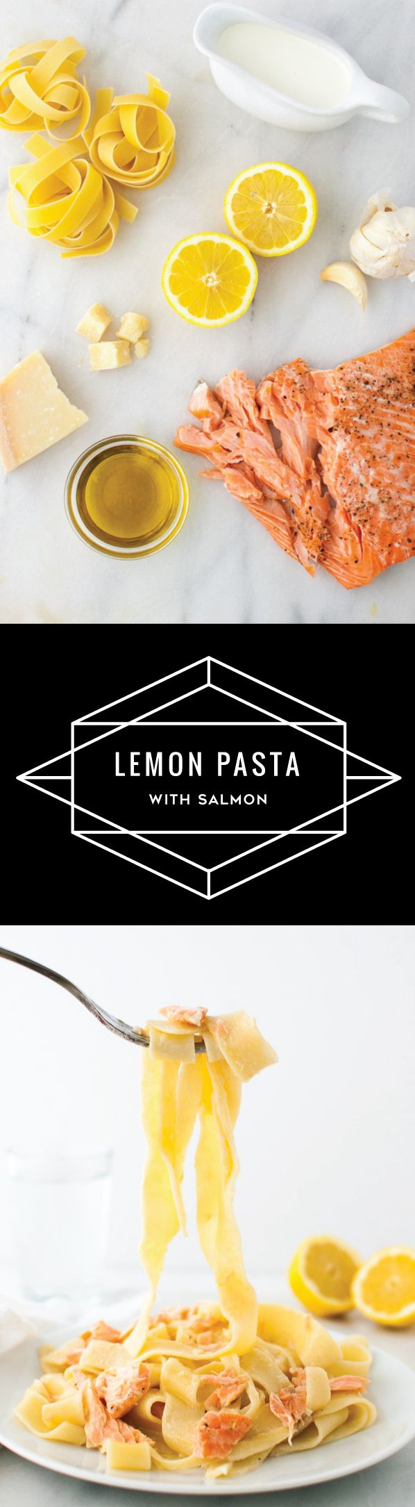 Lemon Pasta with Salmon - Pasta with salmon in a light lemon sauce with a touch of cream. | tamingofthespoon.com