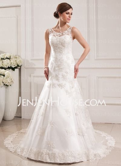 Wedding Dresses - $199.99 - Mermaid Scoop Neck Court Train Satin Tulle Wedding Dresses With Lace (002019530) http://jenjenhouse.com/Mermaid-Scoop-Neck-Court-Train-Satin-Tulle-Wedding-Dresses-With-Lace-002019530-g19530