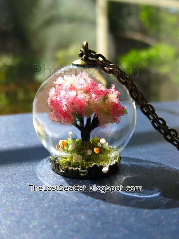 Tree-Of-Life necklace Family Tree Necklace Terrarium necklace Cherry blossom jewelry Cherry blossom necklace Real Moss Miniature garden