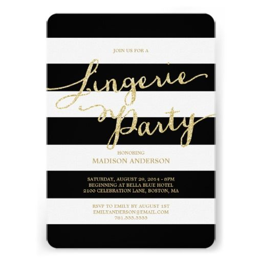 Glitter and Glam   Lingerie Party Invitation