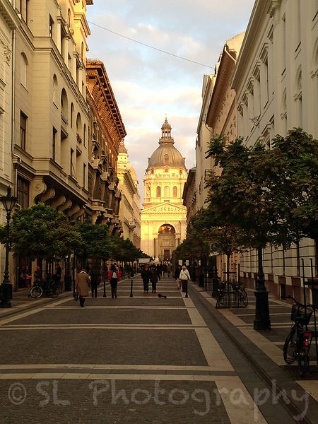Strolling towards Saint Istvan's Basillica in Budapest during sunset.