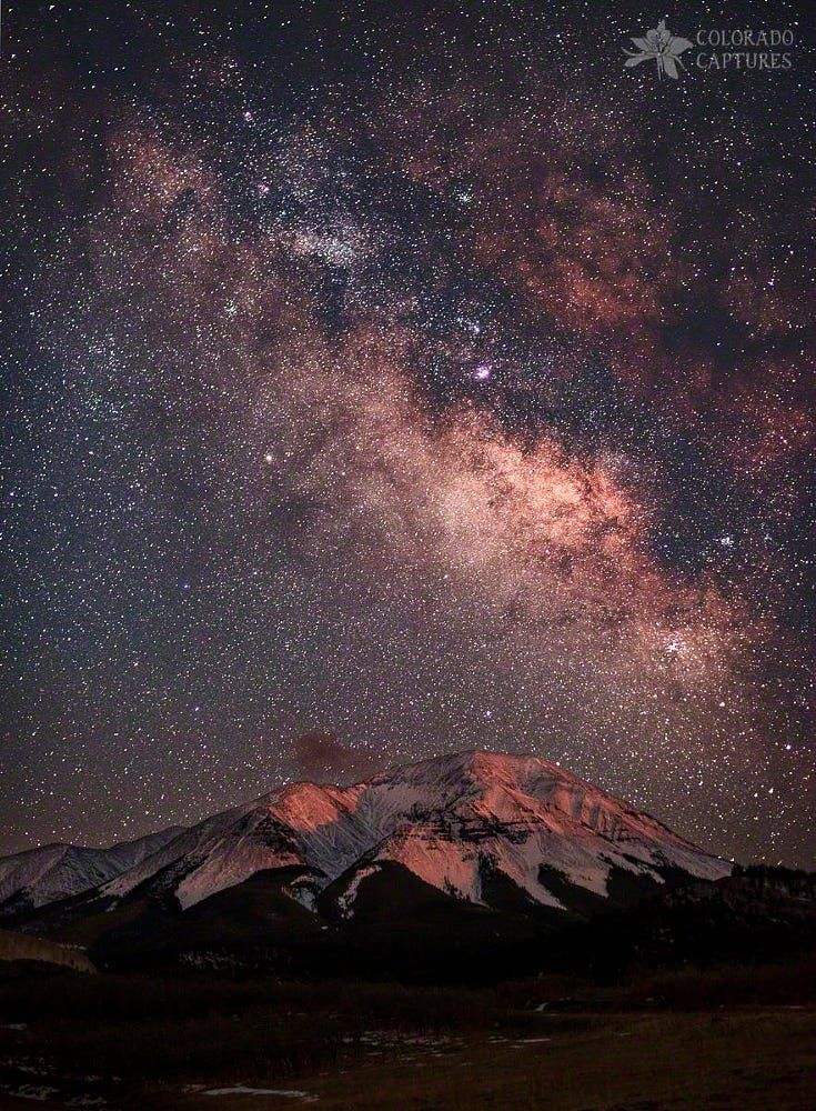 Lunar Alpenglow And Milky Way Skies At West Spanish Peak by Mike Berenson on 500px