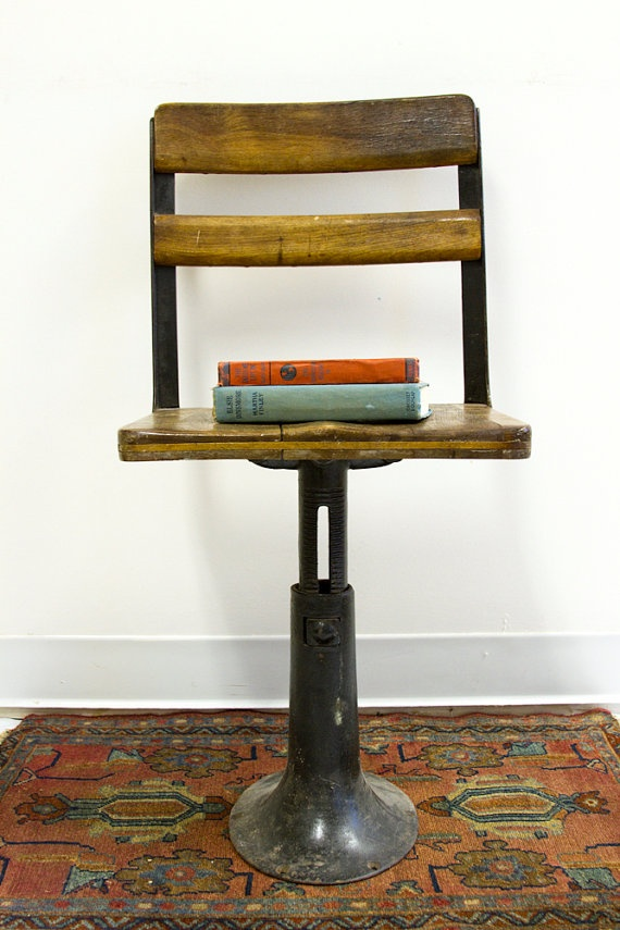 Antique Cast Iron Chairs : Antique wooden school chair cast iron base chairs