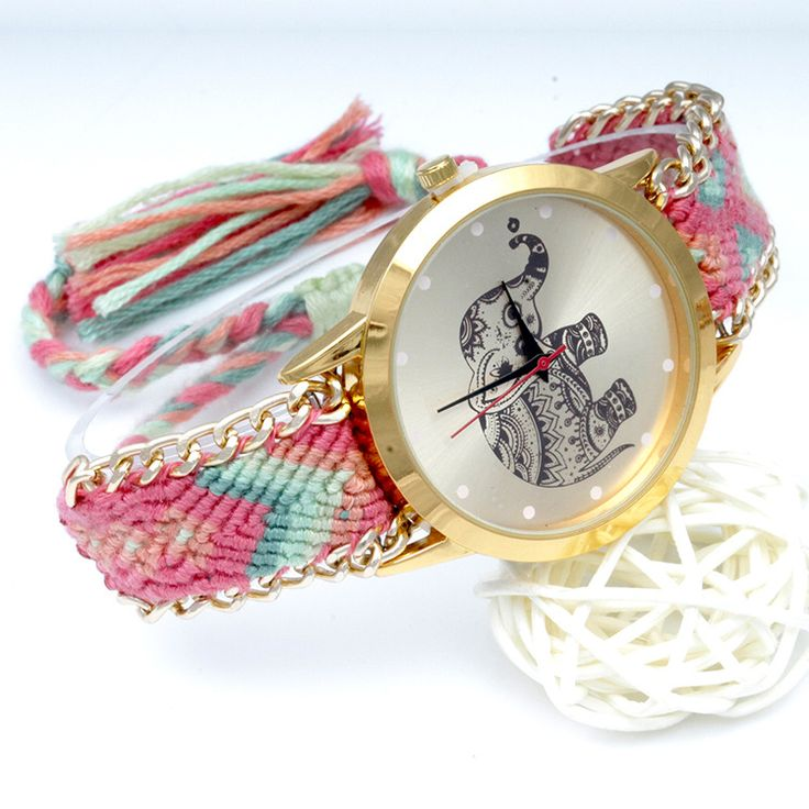 Women Girls Knitted Rope Elephant Bracelet Chain Wrist Watch