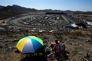 Race fans sit atop Rattlesnake Hill and watch the action during the NASCAR Sprint Cup Series SUBWAY Fresh Fit 500 at Phoenix International Raceway on March 4, 2012  Photo - Robert Laberge/Getty Images  http://fan4racing.com/2013/02/28/subway-fresh-fit-500-preview/#Sprint Cup