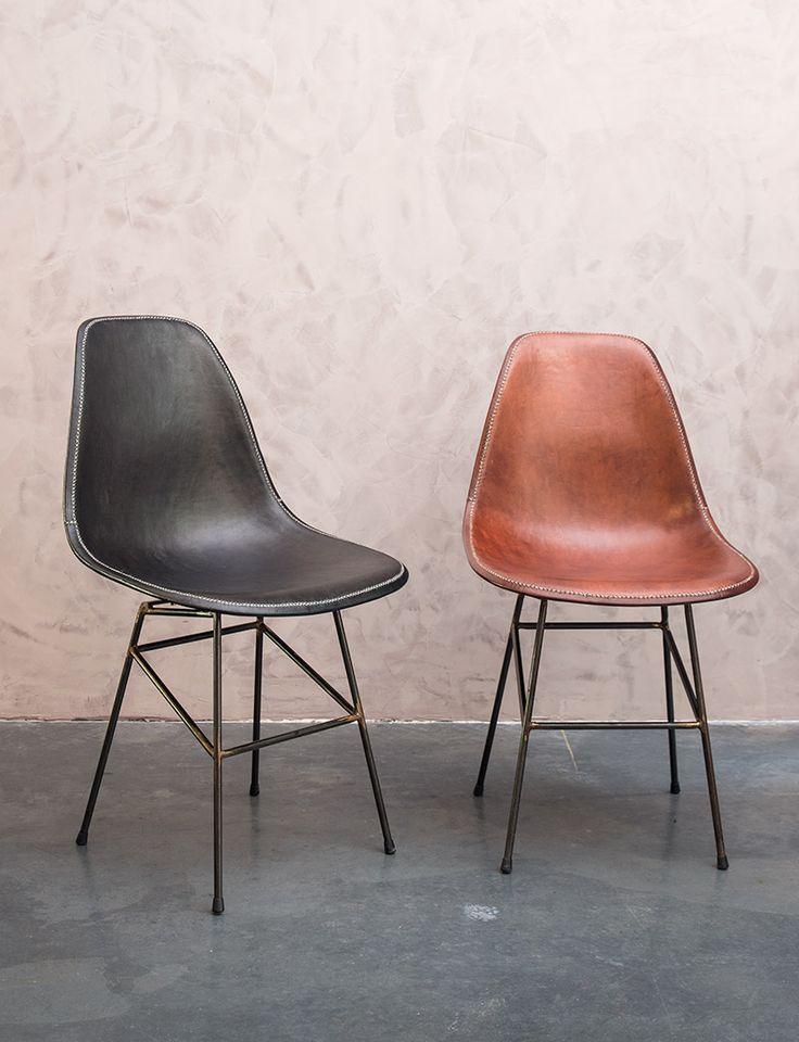 Design lederen eetkamerstoelen - Leather dining chairs - handmade - buffalo leather - #WoonTheater