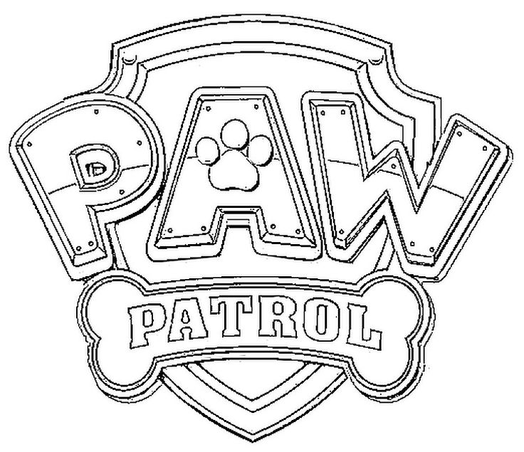 Dibujos para Colorear Infantil: Logo Paw Patrol para colorear