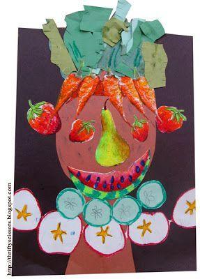 Laboratori artistici per bambini con la frutta kids fruit craft  arcimboldo