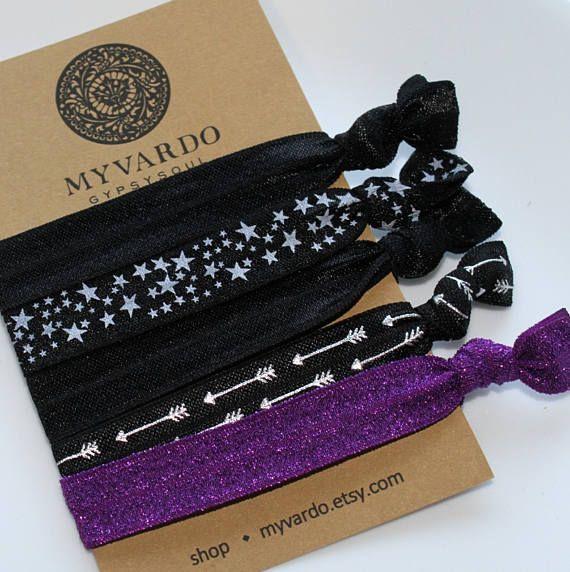 Purple Hair Ties Black Hair Tie Bracelets Gothic Hair