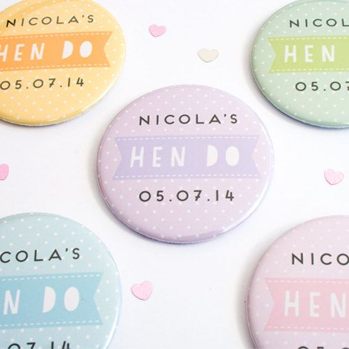 Personalised Polka Dot Hen Party Badges by joannehawker on Etsy, £2.95