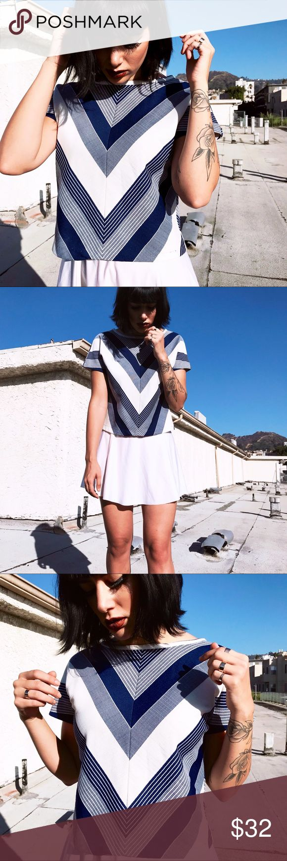 60s Chevron Striped Mod Twiggy Shirt Blouse Top 60s Chevron Striped Mod Shirt 💘 Oh hell YAS. This vintage chevron top is epic. Selfie worthy. Features beautifully symmetrical print for all you OCD angels. Front and back chevron. Kinda flawless.  Fits S-M. Perf condition. The little mod skirt is also available in the shop. Tops Blouses