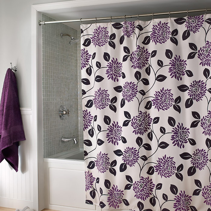 purple & gray/silver color combo...LOVE Pretty #Shower #Curtain with purple floral motif.