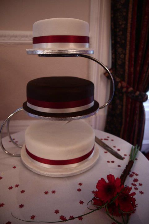 three tiered Chocolate and ivory wedding cake