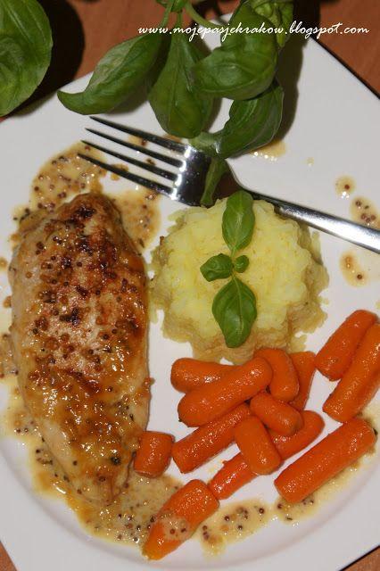 moje pasje: Zapiekany kurczak w sosie śmietanowo-miodowo-musztardowym