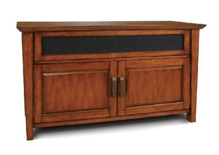 "Bell'O WAVS326 Transitional Styling Audio Video Cabinet in Wood Finish (Carmel Brown). Accommodates most Flat Panel Plasma or LCD TVs up to 52"", plus at least five audio/video components and a center channel speaker. Flared front, rich caramel brown finish. Internal ventilation slots provide proper air circulation for audio/video components. CMS Cable Management System hides wires and interconnect cables. Assembles in minutes with no tools required. Wood A/V Cabinet in a Rich Carmel Brown..."