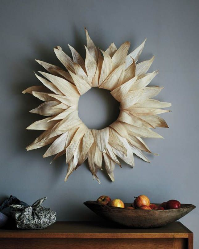 Add a rustic touch to your door with a DIY corn husk wreath.