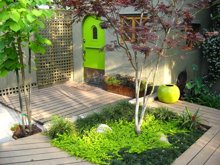 Green Arrangements Set Off By Apple Green Fixtures And A Delicate Japanese  Maple Make This. Modern GardensZen GardensJapanese ...