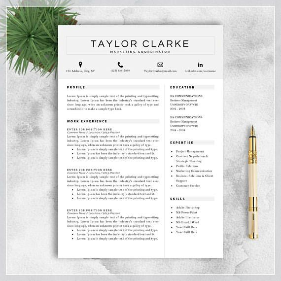 Resume Template Cv Template For Ms Word Professional Resume Etsy