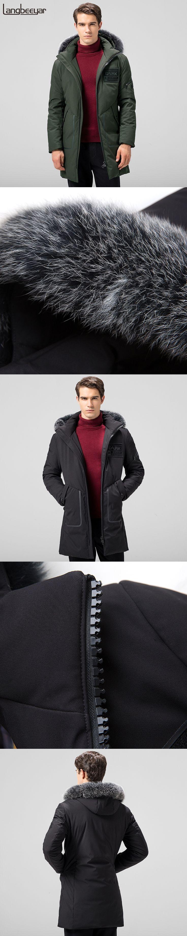 New Fashion Brand Clothing Mens Duck Down Jackets Mens Top Grade Mens Winter Parka With Fur Hood Long Warm Men Winter Coat Men