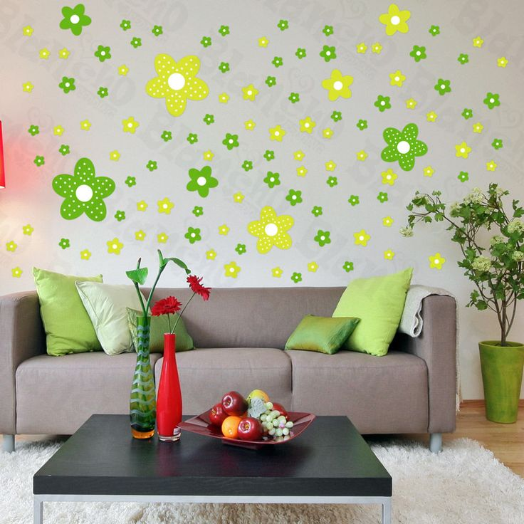 Green Flower Sheets | Green Floral Design   Large Wall Decals Stickers  Appliques Home | Wall