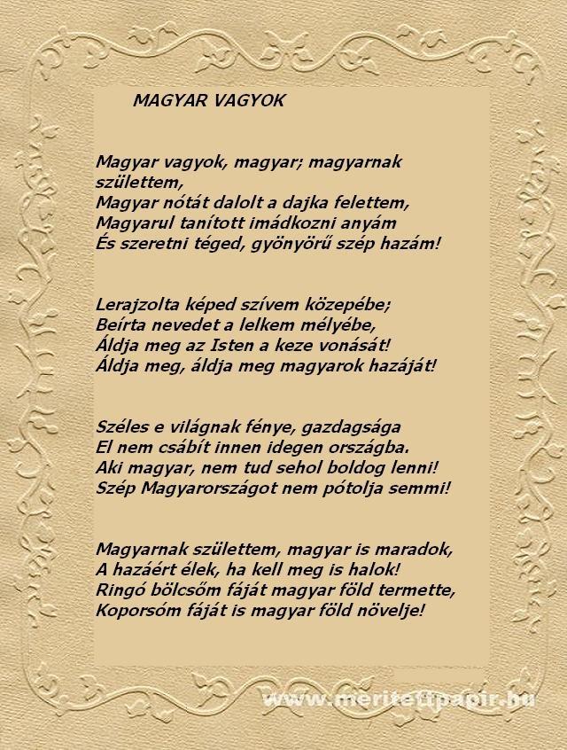 Hazaszeretet .... Pósa Lajos : Magyar vagyok