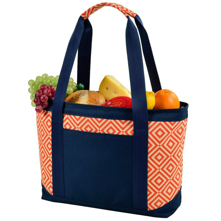 Picnic at Ascot Diamond Collection Large Insulated Tote, Orange/Navy ** New and awesome outdoor gear awaits you, Read it now  : Camping equipment