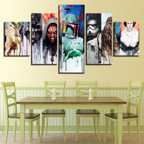 5 Pieces Star Wars Paintings Movie Character Abstract Canvas Wall Art