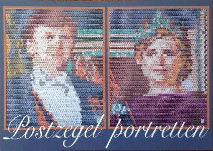 Voorkant flyer, postzegel portretten koningshuis.
