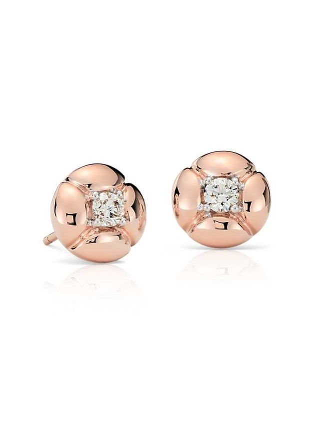 Stunning all over, these one-of-a-kind petal-inspired earrings showcase round brilliant diamonds framed in 18k rose gold.