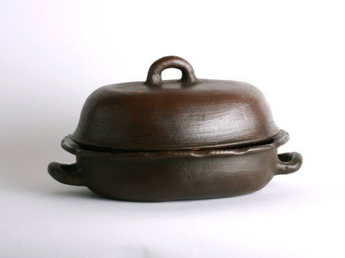 So Gourmet Pomaireware Clay Oval Baker with Lid by Solay Wellness, Inc.. $69.00. Handcrafted by Artisans in Pomaire, Chile. Fair Trade and Lead Free. Decoratively created to be oven friendly up to 450F as well as stove top friendly (electric w/ diffuser) and will keep dinner warm on the dining table. Make the perfect meal with healthy clay cookware. Craftsman from Pomaire, Chile have been making unglazed lead free clay cookware since the 19th century. Our cookware pr...