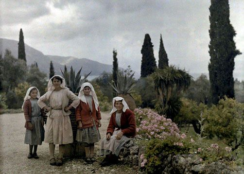 Women and girls in the garden of a country home, Deka, Corfu    Images by Maynard Owen Williams / Wilhelm Tobien    Source: National Geographic Stock