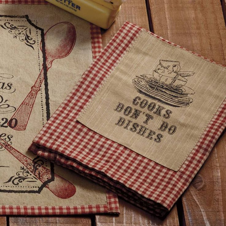 """Cook's Don't Do Dishes Dishtowel features wine & tan gingham mini-check. Made of 100% Cotton.     Machine wash; cold water; gentle cycle; hang dry. Measures 20""""W x 28""""L. #country #kitchen #farmhouse #dishtowel"""