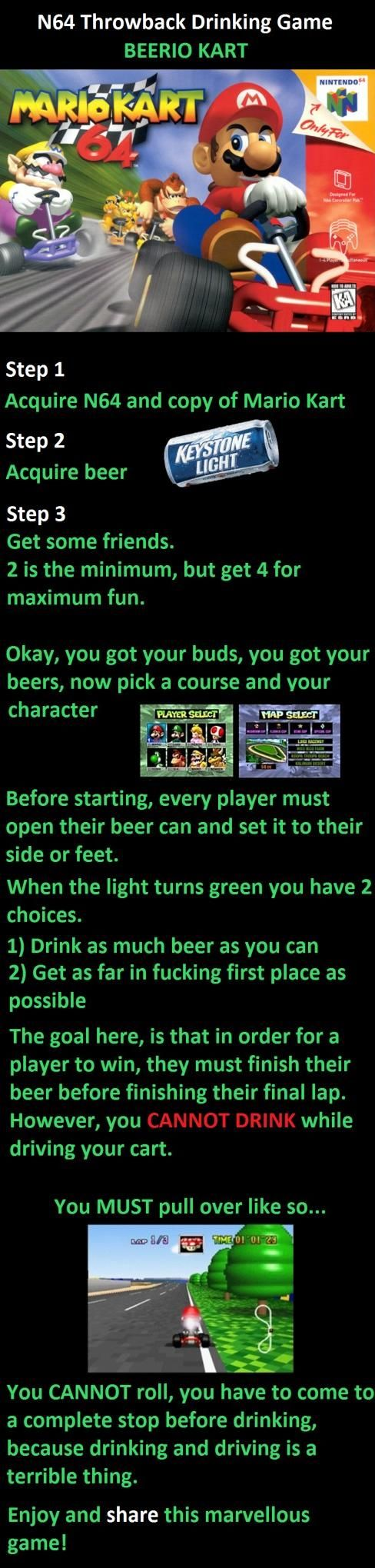 Mario Kart Drink and Drive game