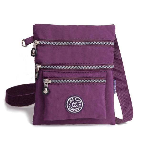 Women Casual Nylon Waterproof Multi-Pocket Messenger Zipper Crossbody Bag Shoulder Bag