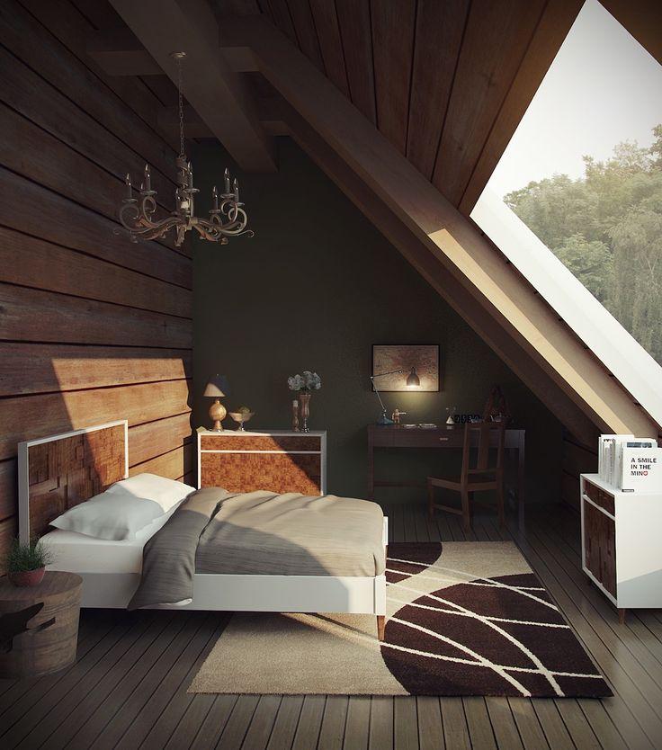 chandelier-bedrrom-attic-wooden-wall-green-wall.jpg (1200×1360)