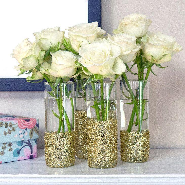 Glitter- Shot- Glass- Vases- and White Roses