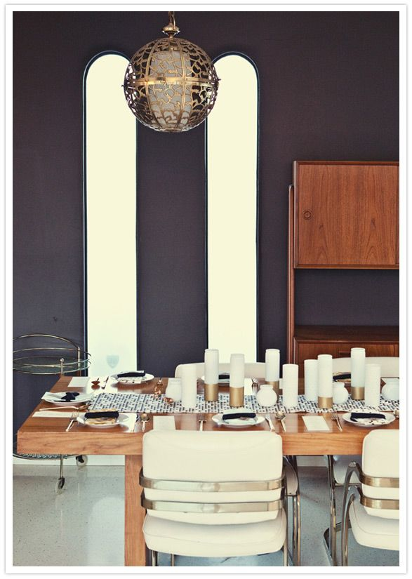 black and gold palm springs midcentury dining room