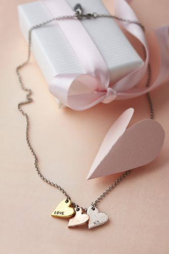 """3 Little Hearts Necklace- Let these adorable charms in pewter, antique copper and antique gold tones whisper the feelings of your heart. 5/8"""" charms and 18"""" Dainty Rolo Chain. NL00174 $36 US / $44 CAN #JKValentinesDay2014"""