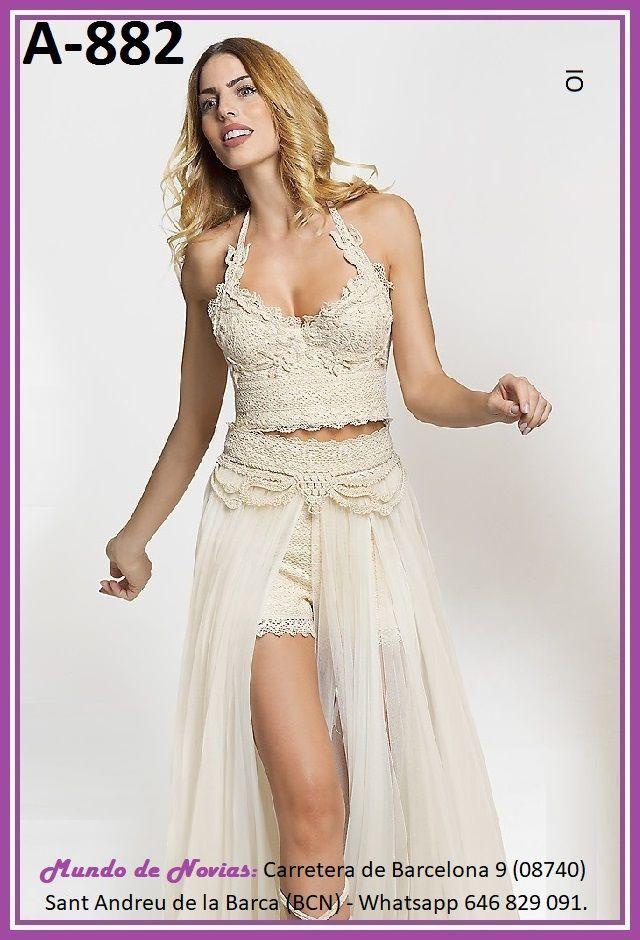 Exclusivo y Original Vestido de Novia Bohemio y Vintage con TOP, PANTALON y FALDA realizado a mano hasta el último detalle.
