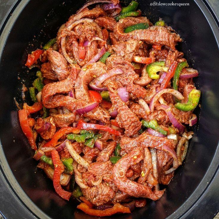 5-Ingredient Slow Cooker Steak Fajitas +add 3 bell peppers and mushrooms +use the fajita seasoning she includes