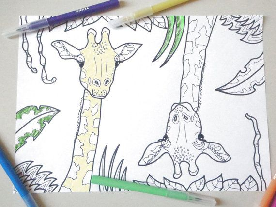 giraffe da colorare animali bambini e adulti africa savana colorare stampare zen doodle giraffa download disegno digitale lasoffittadiste