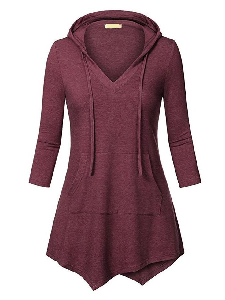 Stylish Casual Loose Big Pockets Asymmetrical Women Hoodies - NewChic Mobile.