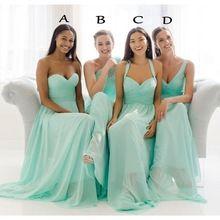 Custom Made Plus taille en mousseline de soie Turquoise de demoiselle d'honneur robes longues chérie longueur de plancher Mint Green robes de mariée 2016 Mix(China (Mainland))