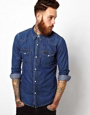 Image 1 of Lee Denim Western Shirt Slim Fit Mid Stone