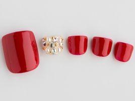 Red pedi nail