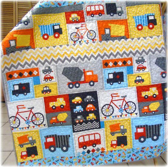 Baby Boy Quilt Ready Set Go Trucks Cars Bus Bikes Chevron Baby Nursery Play Mat